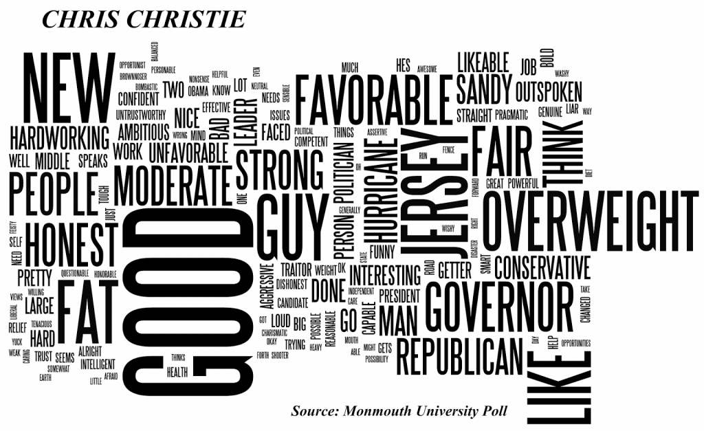 Image Shows Word Cloud Generated by Voter Responses Regarding Chris Christie