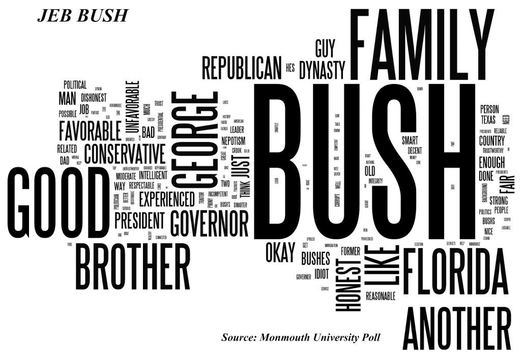 Image Shows Word Cloud Generated by Voter Responses Regarding Jeb Bush