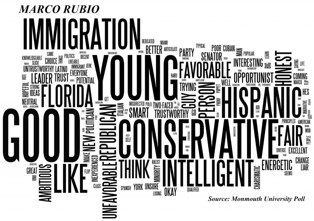 Image Shows Word Cloud Generated by Voter Responses Regarding Marco Rubio