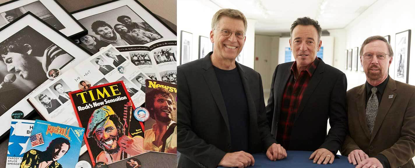 Two photos. The first is of Bruce Springsteen memorabilia. The second features Robert Santelli (Grammy Museum Executive Director), Bruce Springsteen, and President Paul R. Brown