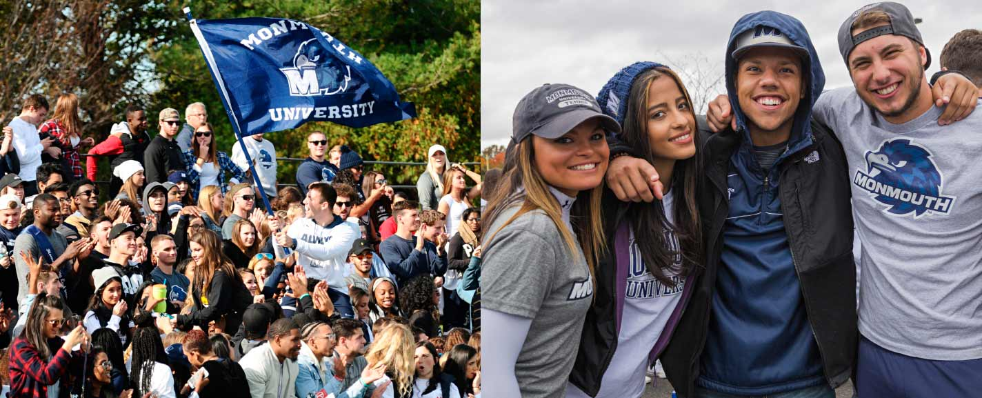 Groups of students showing their University pride, dressed in Monmouth attire and waving a flag with school mascot Shadow