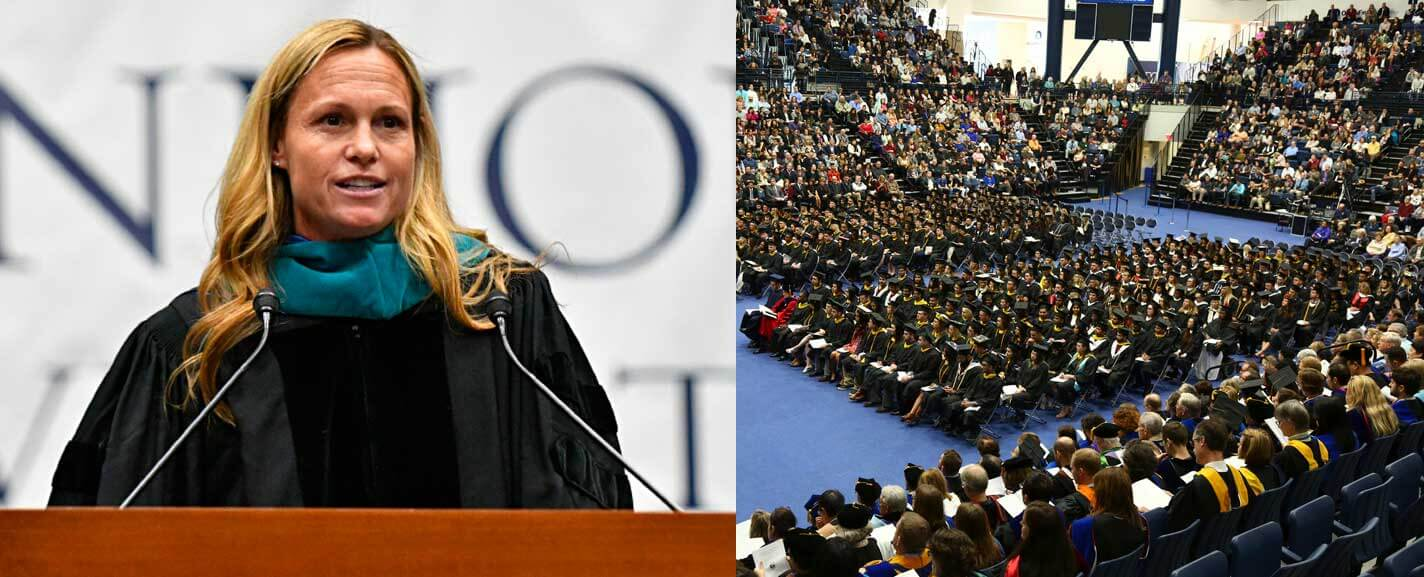 Christie Pearce Rampone speaking during the commencement