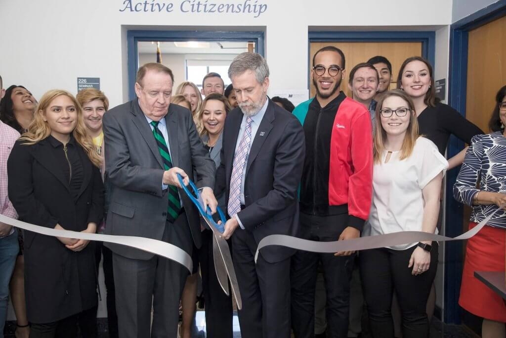 Photo of former New Jersey Governor Richard Codey as he opens the Center for Active Citizenship with President Grey Dimenna on April 20, 2018.