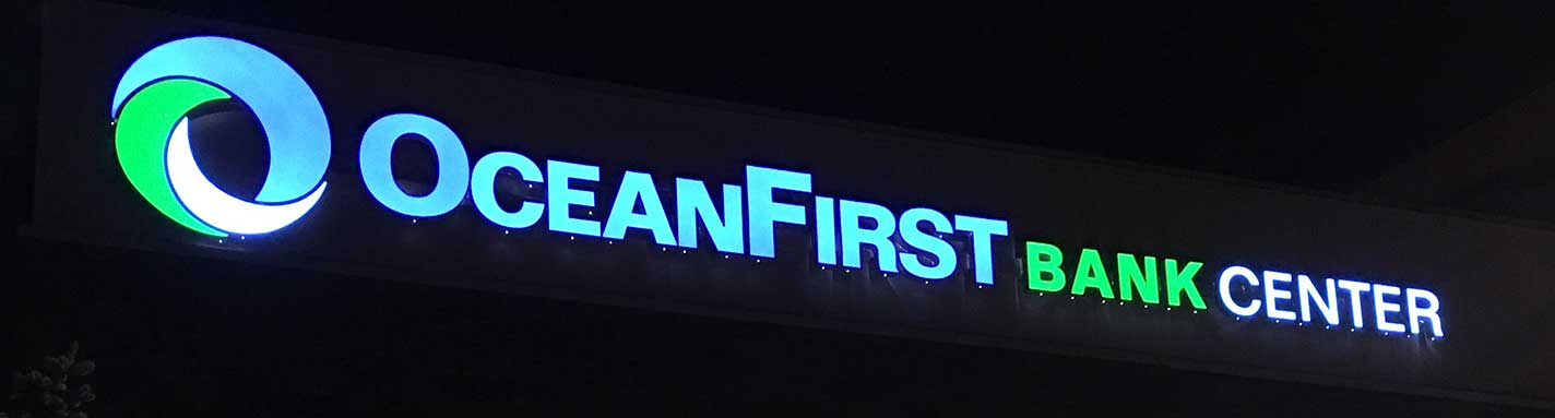 The illuminated signage of the OceanFirst Bank Center