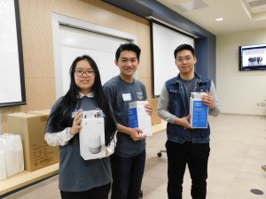 Photo shows Second Place team with the Google Home and Chromecast donated by Commvault. HSPC2019