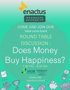 Photo image of event flyer for roundtable Discussion on Does Money Buy Happiness? Click or tap to download flyer