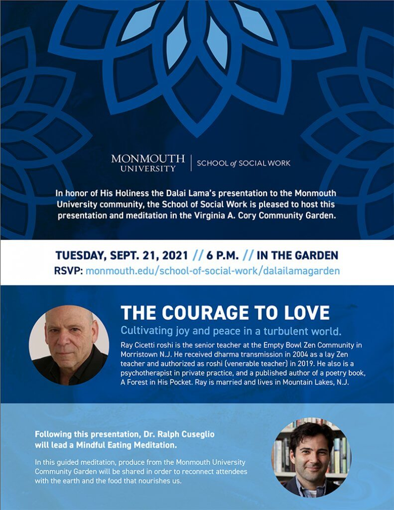 Photo image of flyer for The Courage to Love and Eating Meditation events at the MU Community Garden