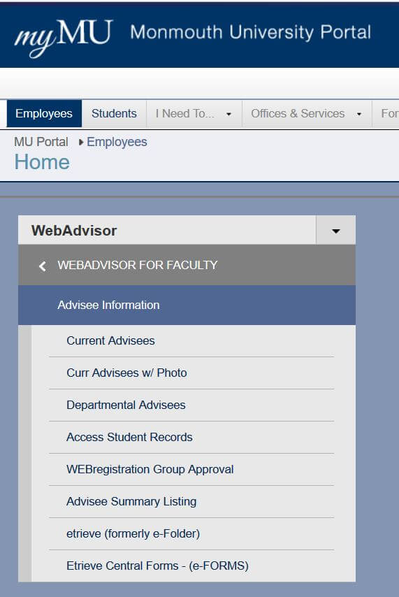 WebAdvisor for Faculty