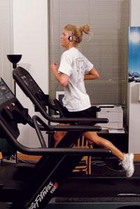 Student on Treadmill in Hawk's Den