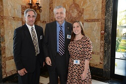From left, Roberts Outstanding Teacher Dr. Bob Feder (Bridgewater-Raritan High School) with William Roberts and Feder's former student Ellen Sternberg - Jim Reme
