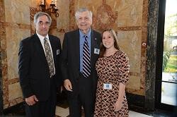From left, Roberts Outstanding Teacher Dr. Bob Feder (Bridgewater-Raritan High School) with William Roberts and Feder's former student Ellen Sternberg - Jim Reme