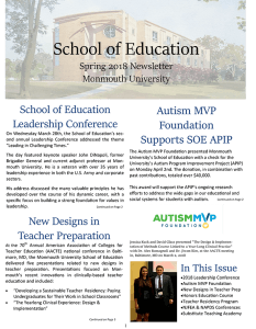 Spring 2018 issue of the School of Education Newsletter