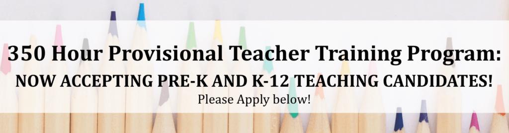 Banner image: 350 Hour Provisional Teacher Training Program