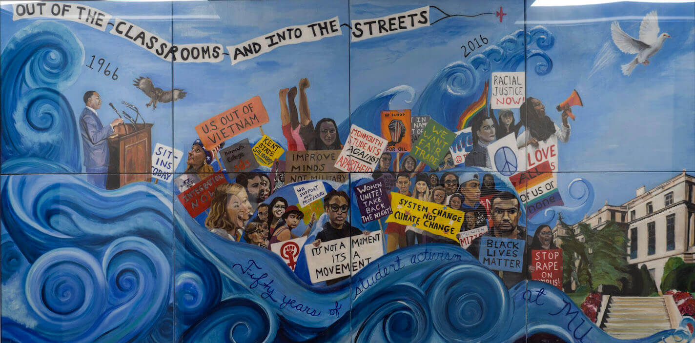 A mural by Sociology professor Dr. Johanna Foster, depicting a myriad of student demonstrations that took place at Monmouth over the past 50 years.