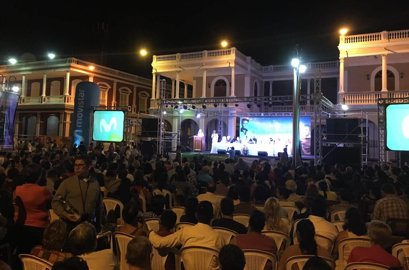 A nighttime shot showing one of the many outdoor venues where poets from across the globe presented their work during the Poetry Festival of Granada in Granada, Nicaragua.