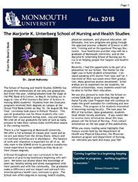 Read the Fall 2018 Newsletter for the School of Nursing and Health Studies