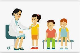 Drawing image of nurse giving checkups with children