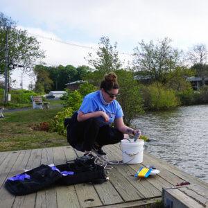 Taking water samples at Lake Takanassee