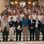 Click to View 2013 Summer Research Symposium Photo of Group Photo on Wilson Hall Grand Staircase