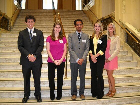 Group photo of student winners:  Bryan Martin, Krystal Orlando, Dharm Patel, Nicole Wisniewski, and Shelby Whitebread. Not shown: Trevor Wood and Madelyn Mauterer