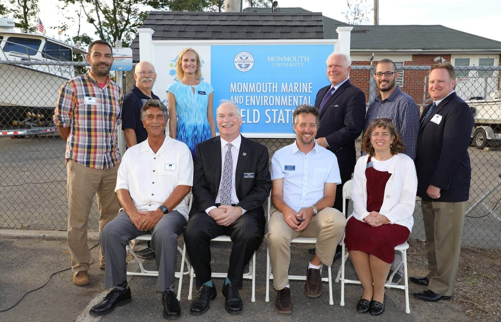 School of Science, Marine and Environmental Biology Policy Program and Urban Coast Institute administrators and faculty join other officials at a ribbon-cutting ceremony for the planned Monmouth Marine and Environmental Field Station in Rumson, NJ.