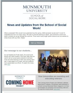 Click Photo Image of Spring 2020 School of Social Work Newsletter for Access