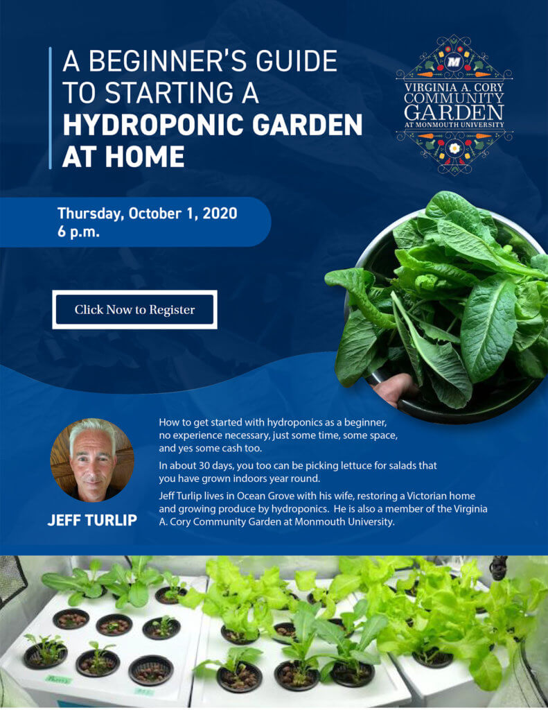 Click this image for details and online registration for the Zoom session A Beginner's Guide to Starting a Hydroponic Garden at Home