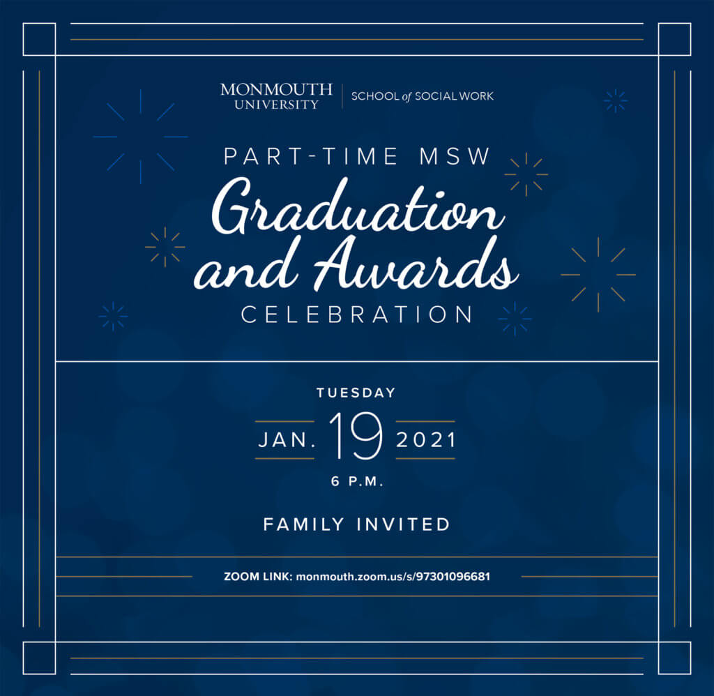 Image of flyer for Part-time MSW Graduation and Awards Celebration, January 19, 2021