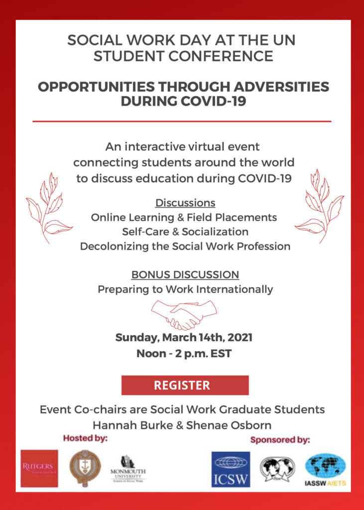 Image of Social Work Day at the UN Student Conference: Click or tap to download flyer with registration link