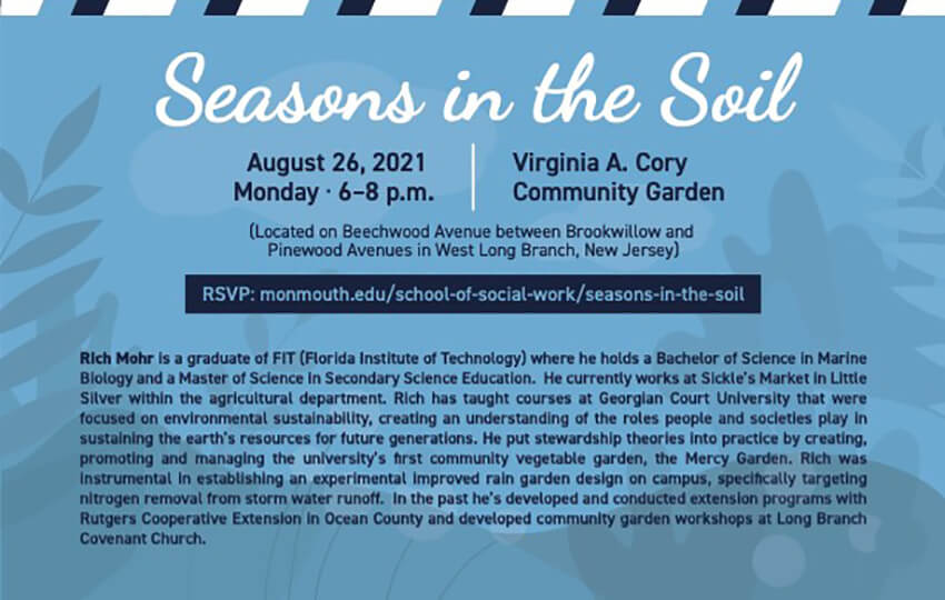 Photo image of flyer displaying information for Seasons in the Soil event on August 26, 2021: Click or tap to register online