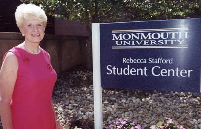 Dr, Rebecca Stafford and Student Center Sign