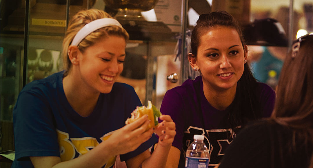 Sorority sisters enjoy a bite at the dining room.
