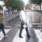 Photo of MU students crossing Abbey Road in London England - Click to view larger image