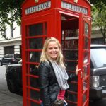 Photo of MU student at London phone booth in England - Click to view larger image