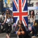 Photo of MU student group with British flag in London England - Click to view larger image