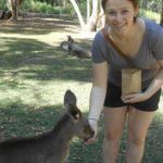 Photo of MU student feeding kangaroo in Australia 2002 - Click to view larger image