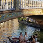 Photo of MU students rowing boats in Spain Summer 2018 - Click to view larger image