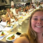 Photo of MU student at cooking class in Italy Summer 2018 - Click to view larger image