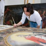 Photo of MU student at painting class in Italy - Click to view larger image