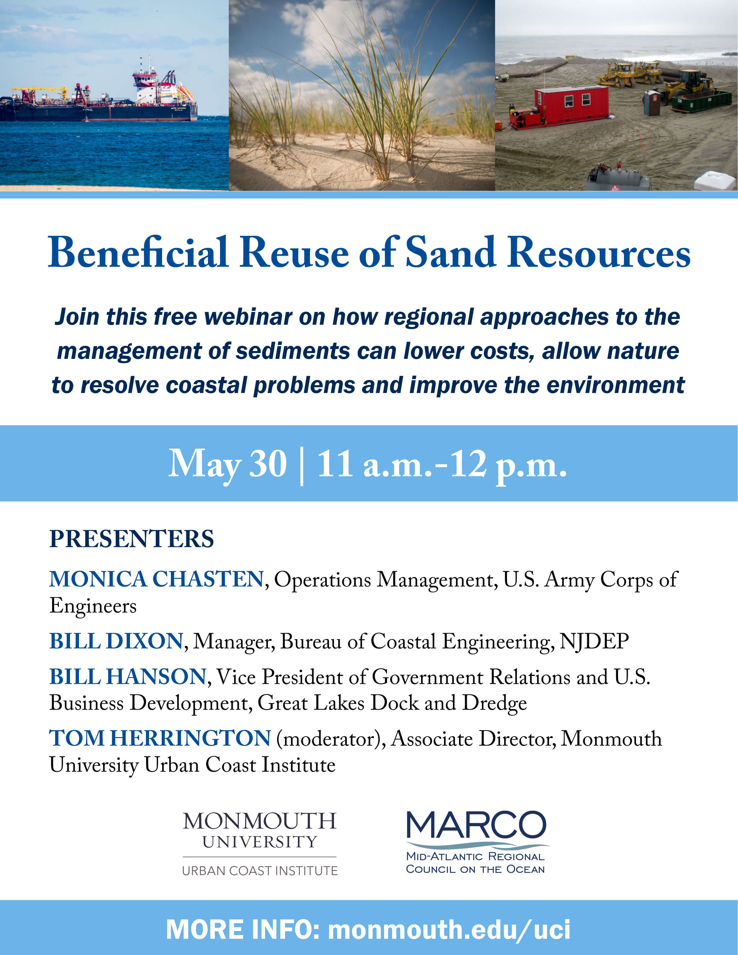 A poster for the Beneficial Reuse of Sand Resources event.