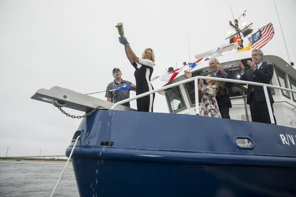Photo shows christening of research vessel as R/V Heidi Lynn Sculthorpe