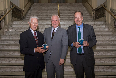 2018 Champions of the Ocean Honorees Former NJ Governors James Florio and Thomas Kean with UCI Director Tony MacDonald