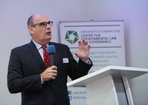 Professor Abate pictured while delivering a speech in London.
