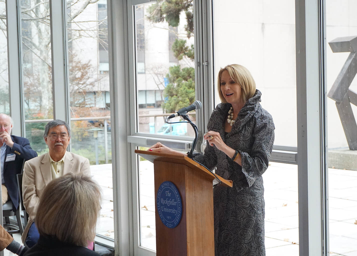 Marcia McNutt, National Academy of Sciences President, accepts her award as UCI Ocean Champion