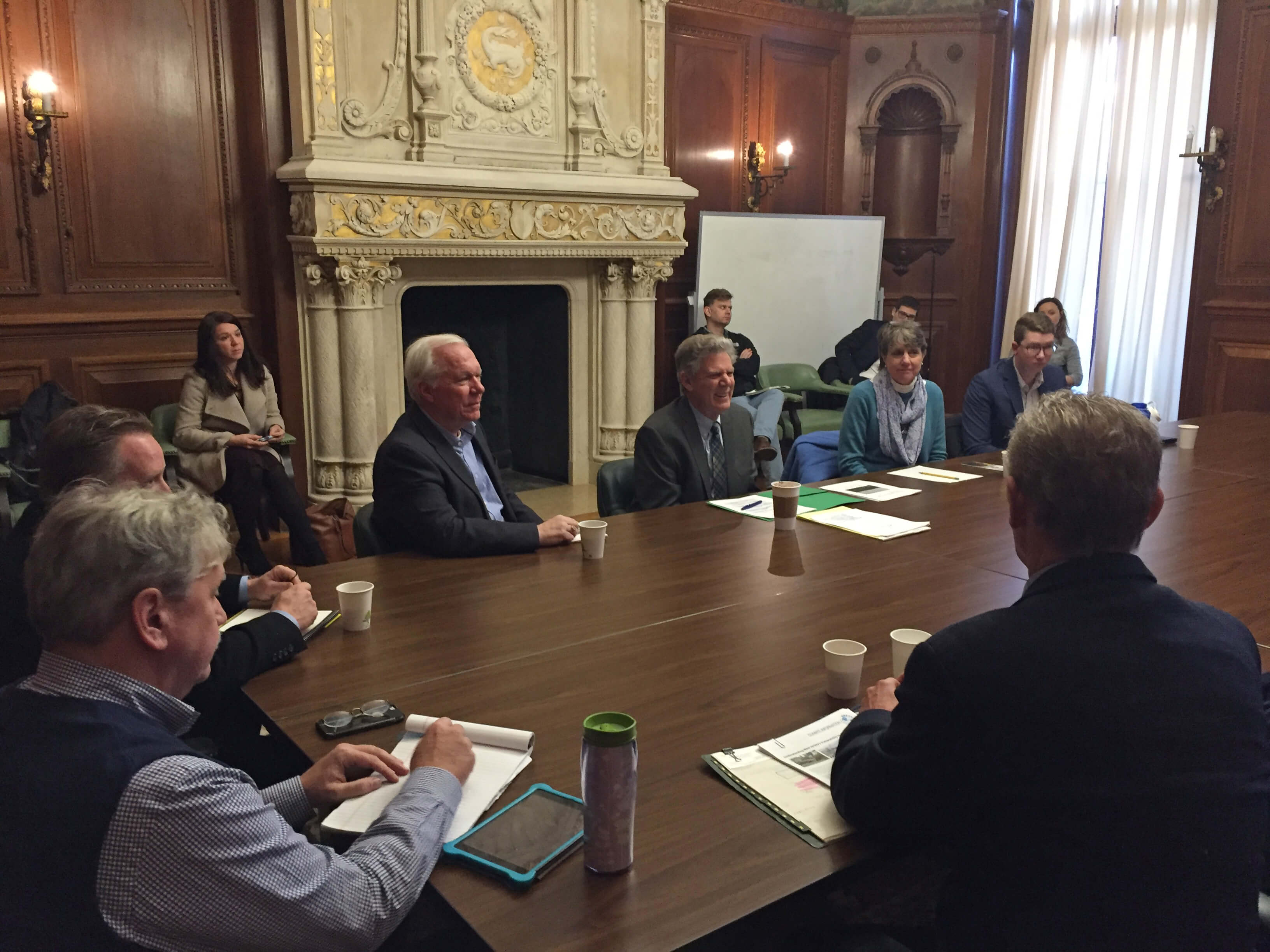 Photo shows Congressman Frank Pallone meeting with the UCI and other New Jersey environmental leaders at Monmouth University Dec. 18 to discuss the urgent need to address climate change