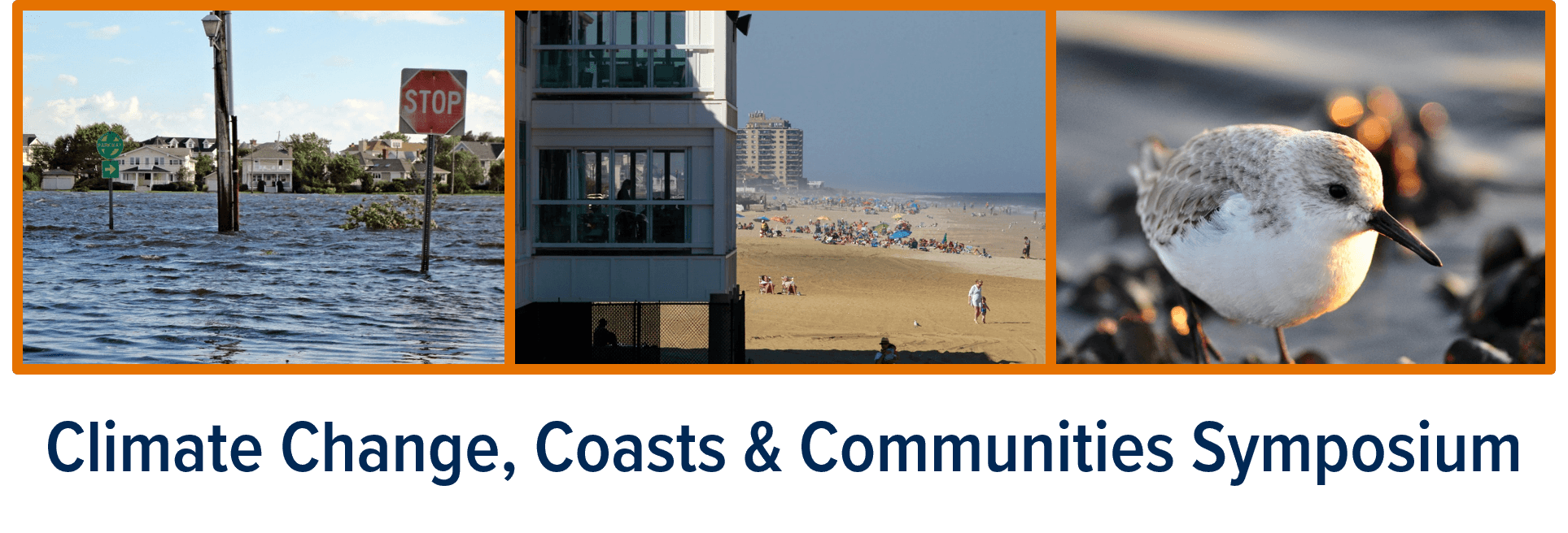 Promotional banner for Climate Change, Coasts & Communities Symposium at Monmouth University on April 17-18, 2019