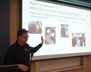 Photo of Endowed Associate Professor of Marine Science Jason Adolf presenting at Coastal Lakes Summit