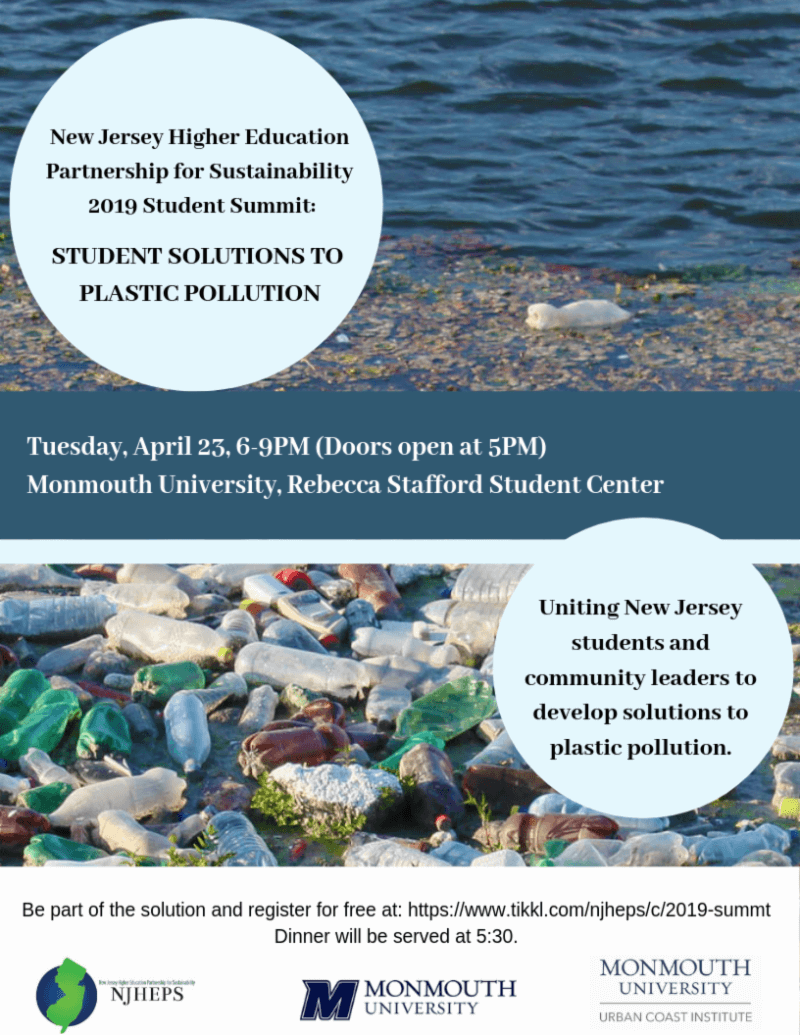 Image of Flyer for New Jersey Higher Education Partnership for Sustainability 2019 Student Summit, April 25 at Monmouth University
