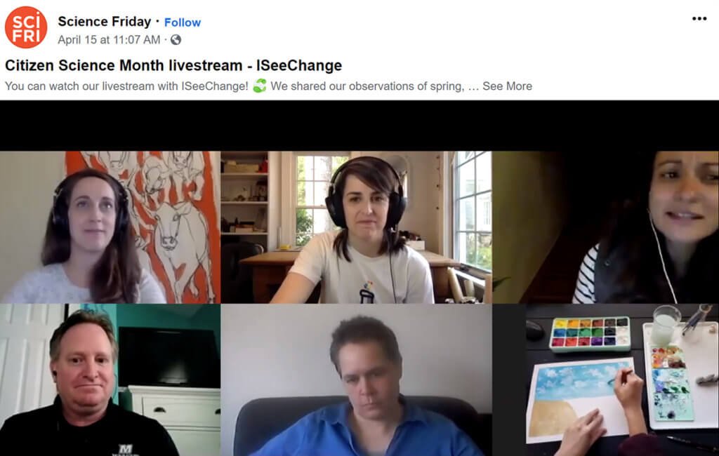 Click to watch video: Screenshot image from April 14, 2020 Science Friday public radio show
