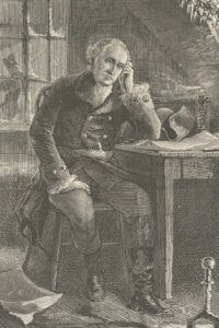 Photo image of antique drawing of Washington at Valley Forge